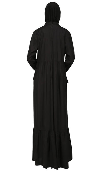 Two Tiered And Frilled Long Abaya Dress - EastEssence.com