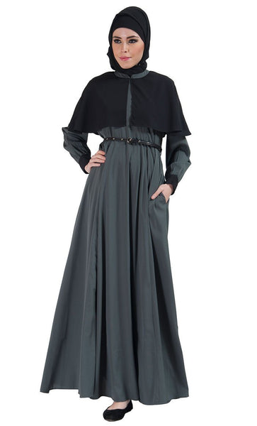 Two Tone Belted Cape Abaya dress - EastEssence.com