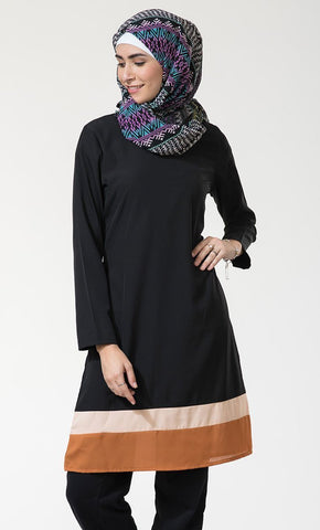 Two Tone Colorblock Pattern Modest Wear Tunic - EastEssence.com