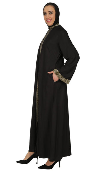 Two Tone Lace Embroidered Classic Abaya Dres - EastEssence.com