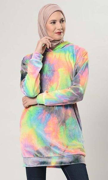 Tye And Dye Velvet Hoodie Sweatshirt - EastEssence.com