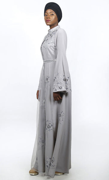 Ultimate Grey Intricate Embroidered Eid Abaya With Loose Sequin Belt - EastEssence.com