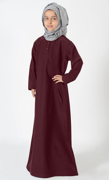 Uniform Abaya- Kids Size - Maroon - EastEssence.com