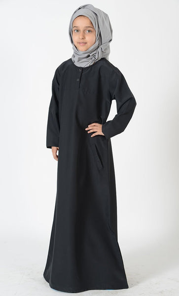Uniform Abaya- Kids Size - Navy - EastEssence.com