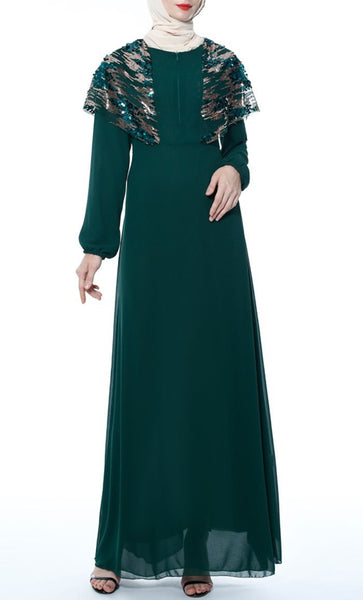 Upper Yoke With Sequin Abaya - Dark Green - *Size Up* - EastEssence.com