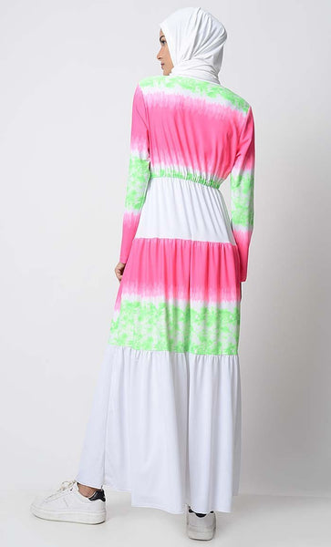 UV Resistant Beach Wear Color Blocked Abaya - EastEssence.com