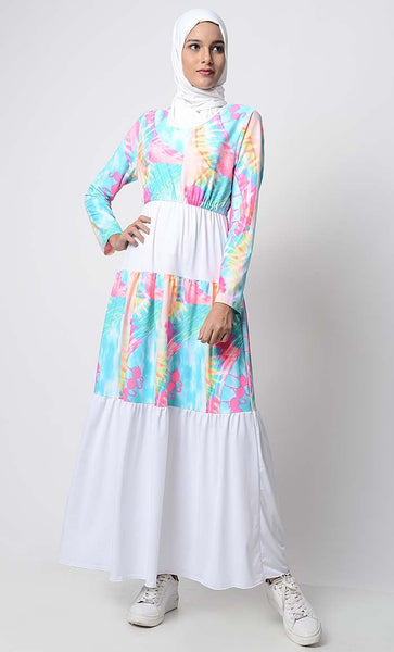 UV Resistant Beach Wear Flamingo Printed Dress Abaya - EastEssence.com