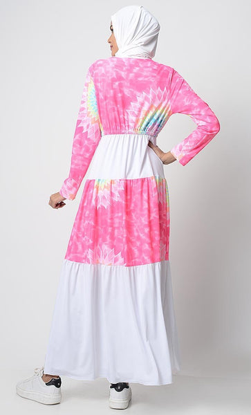 UV Resistant Beach Wear Pastel Dream Printed Abaya - EastEssence.com