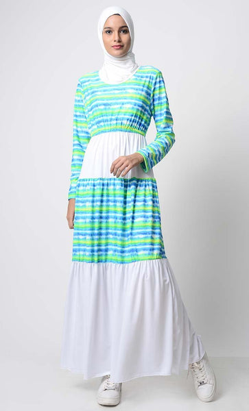 UV Resistant Ocean Waves Printed Beach abaya - EastEssence.com