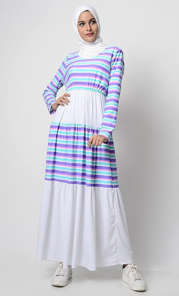 UV Resistant Pastel Stripes Printed Beach abaya - EastEssence.com