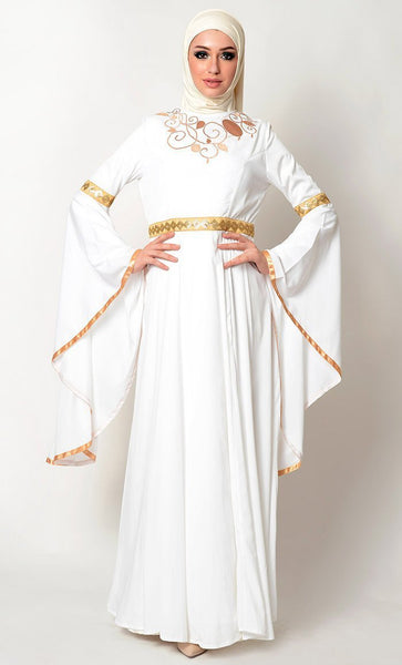 Veil Design Emebroidery And Trumpet Sleeves Abaya Dress - EastEssence.com