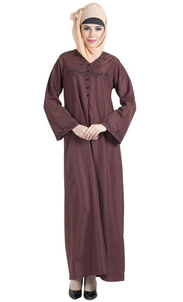 Veil embroidered A line casual muslimah abaya dress - EastEssence.com