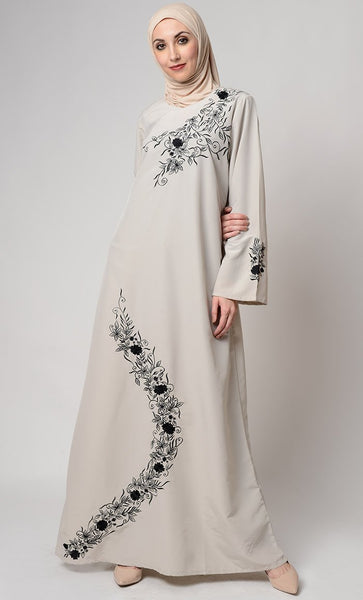Veil Embroidered Graceful Abaya Dress - EastEssence.com