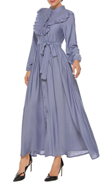 Victorian Era Detailed Abaya Dress - Blue - *Size Up* - EastEssence.com