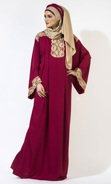 Vintage lace work detail muslimah abaya dress - EastEssence.com