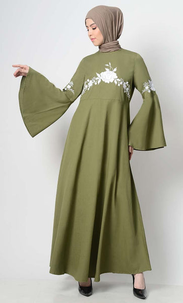 Vintage Vibe Embroidered Abaya - Olive - EastEssence.com