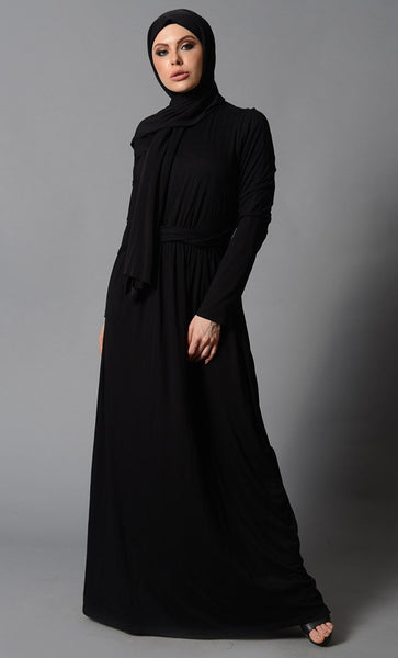 Waist Tie Up Casual Everyday Wear Abaya Dress - EastEssence.com