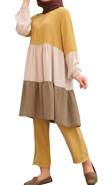 Warm Hue Color-blocked Casual Set (Yellow) - *Size Up* - EastEssence.com