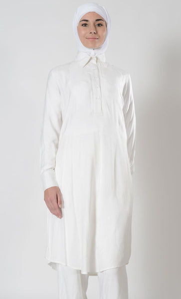 White Basic Hajj Umrah Tunic - EastEssence.com