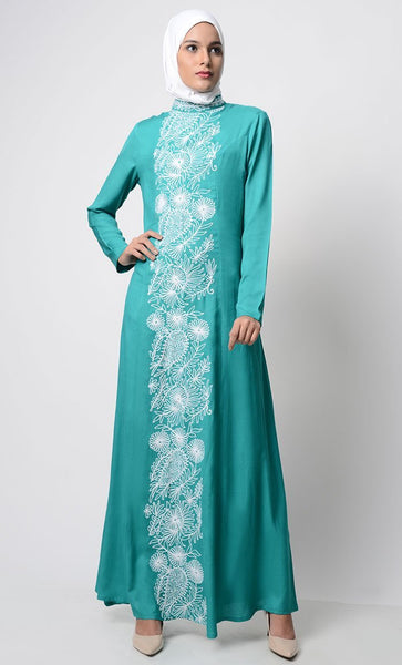 White-Color Thread Embroidered Abaya-Teal - EastEssence.com
