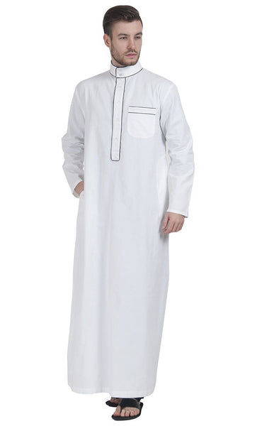 White DishDasha with Black Piping - EastEssence.com