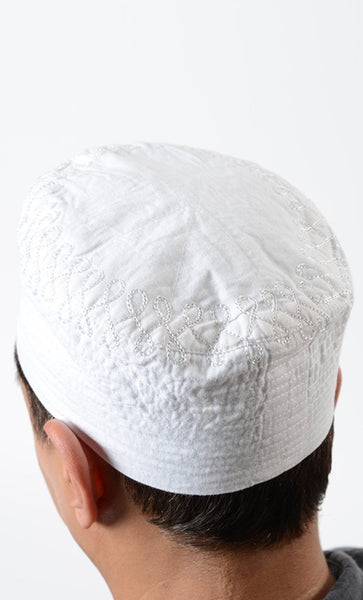 White Embroidered Cotton Kufi - EastEssence.com