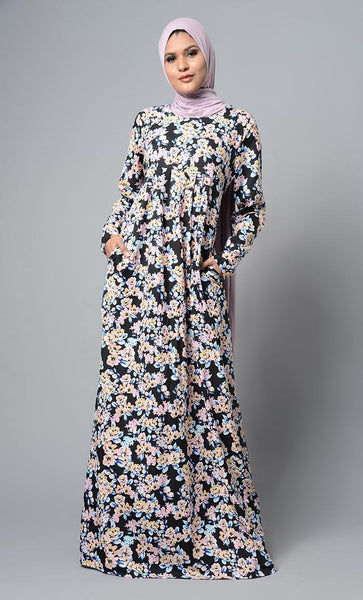 Wild Garden Printed Abaya Dress - EastEssence.com