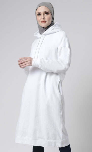 Winter Fleece Everyday Long Hoodie With Pockets - EastEssence.com