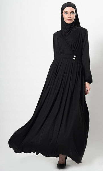 Wrap Around Crisscross Panel Abaya Dress And Hijab Set - EastEssence.com
