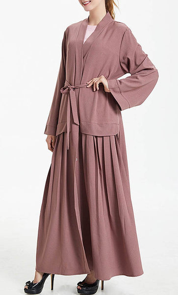 Wrap Around Front Open Bisht Dress - EastEssence.com