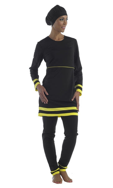 Yellow And Black Accents Swimwear Burkini Three Piece Set - EastEssence.com