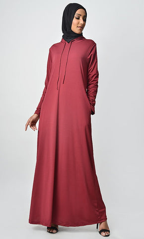 Your Casual Wear Basic Jersey Hooded Abaya - EastEssence.com