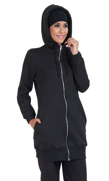 Zipper Front Extra Long Length Hoodie Sweatshirt - EastEssence.com