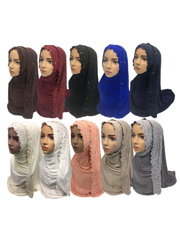 Premium Floral Lace Detail Modal Jersey 10 Mix color Hijab pack