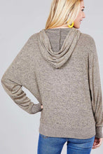 Load image into Gallery viewer, Ladies fashion long sleeve hoodie w/drawstring brushed hacci knit top