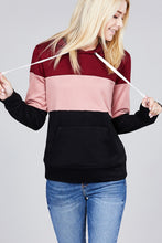 Load image into Gallery viewer, Long sleeve hoodie front kangaroo pocket color block pattern brushed french terry top