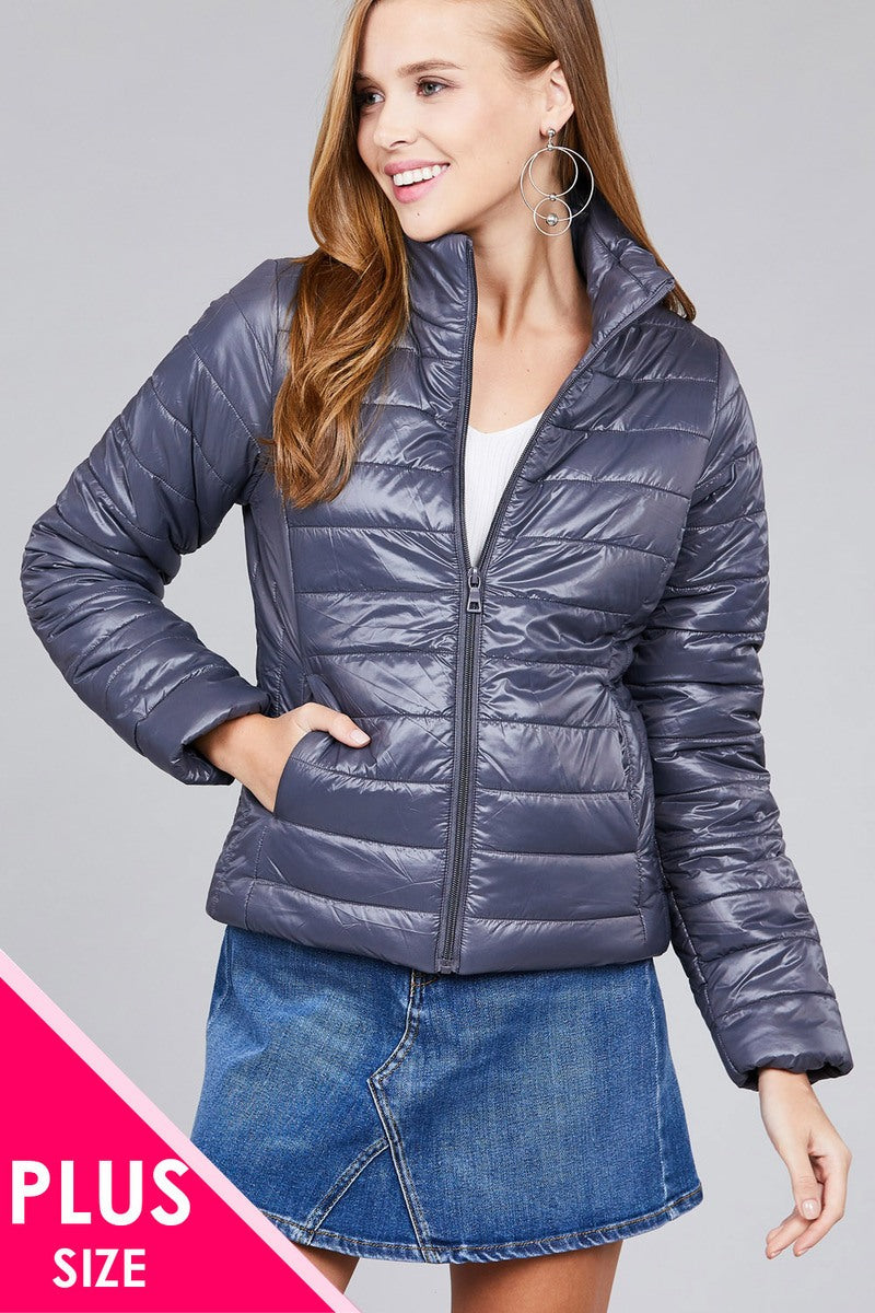Ladies fashion plus size long sleeve quilted padding jacket