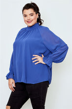 Load image into Gallery viewer, Plus size high neck ruffle long sleeve top
