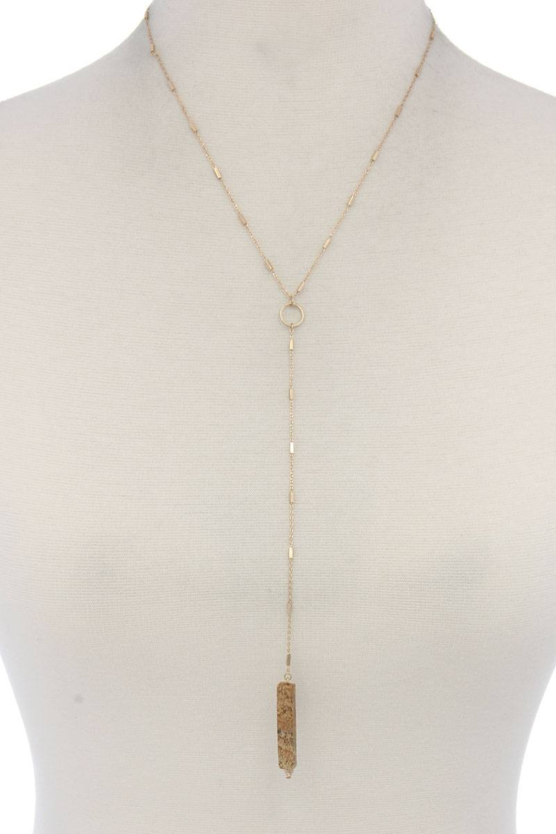 Rectangular Faux Stone Y Shape Necklace