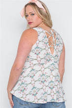 Load image into Gallery viewer, Plus Size Off White Floral Print Lace Up Top