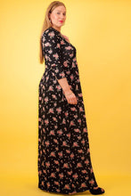 Load image into Gallery viewer, Striped Floral Print Maxi Dress In A Relaxed Fit And Flare Style With A Wrapped V-neck, Short Sleeves, Side Pockets And Waist Tie Belt