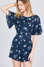 Load image into Gallery viewer, Bell Short Sleeve Back Open Waist Belt Print Romper