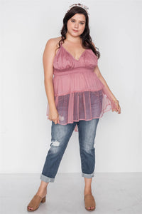 Plus Size Smocked Combo Mesh Top