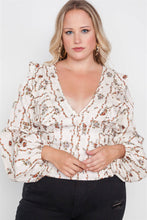 Load image into Gallery viewer, Plus Size Floral V-neck Ruffle Long Sleeve Top