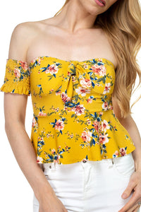Floral Off Shoulder Crop Top