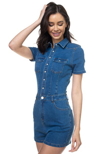 Denim Short Sleeve Romper