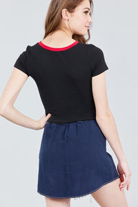 Short Sleeve Crew Neck Color Block Knit Top