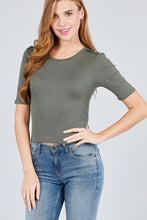 Load image into Gallery viewer, Elbow Sleeve Crew Neck W/shoulder Button Detail Rib Knit Top