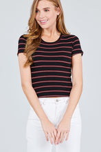 Load image into Gallery viewer, Short Sleeve Round Neck Multi Stripe Rib Knit Top