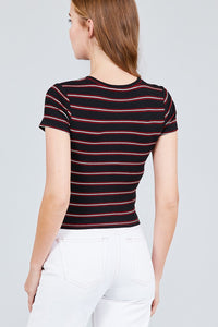 Short Sleeve Round Neck Multi Stripe Rib Knit Top